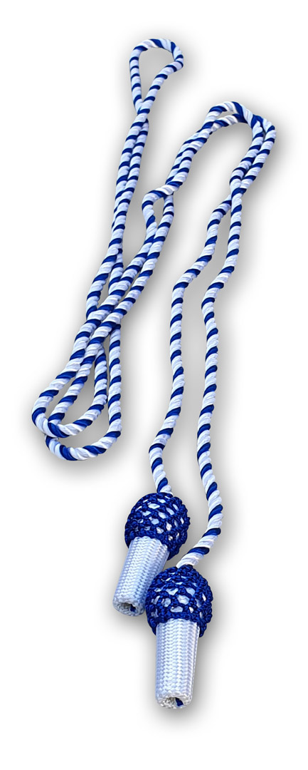 weiss-blaue Hutschnur mit Eicheln