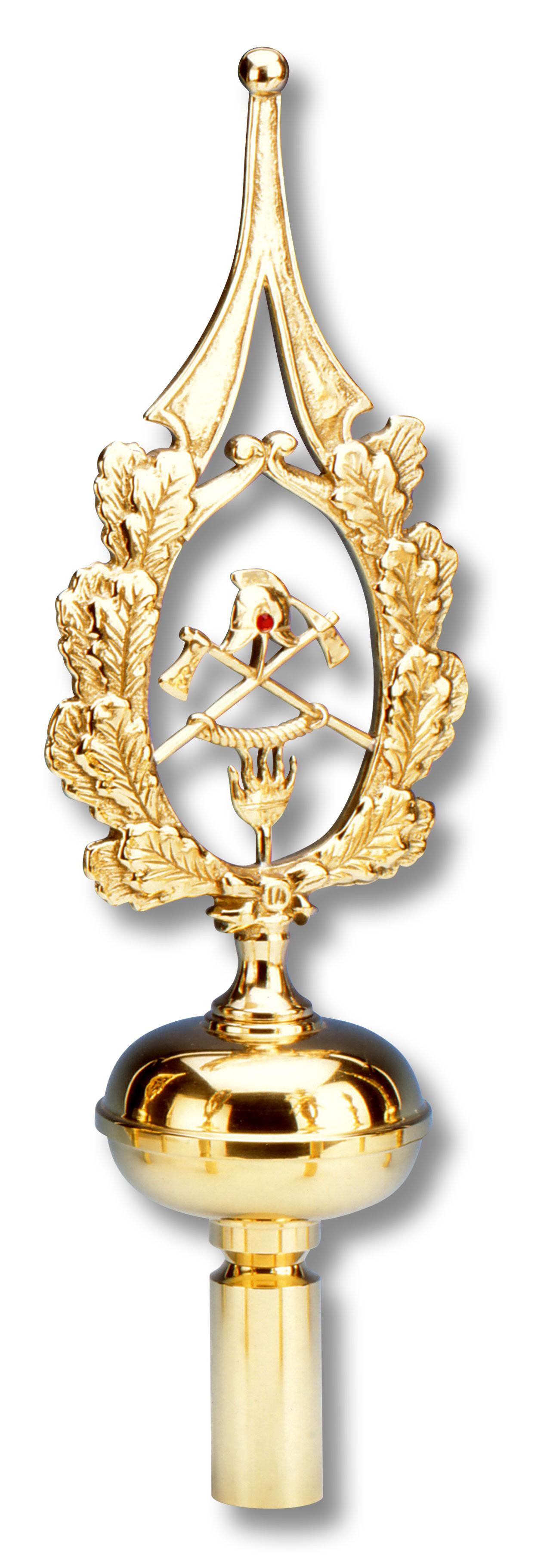 Reich verzierte Fahnenspitze aus goldenem Messing. Verzierung aus Eichenlaub. Innenmotiv mit Helm, Beil und Flamme
