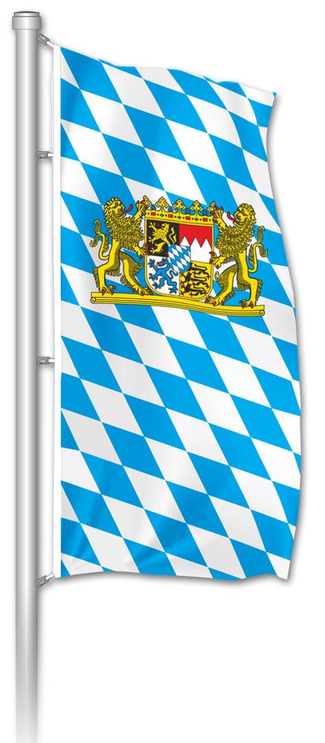 Hochformatfahne bayerische Raute mit Staatswappen