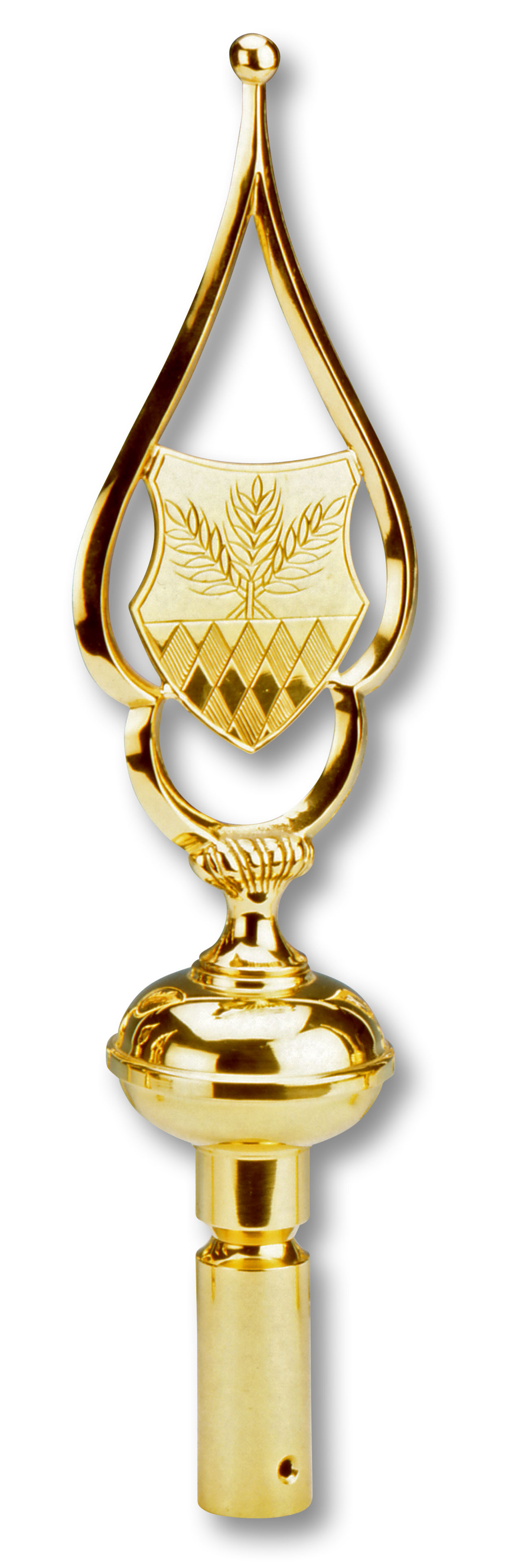 Ährensymbol und Rauten in der Mitte, umrahmt von einem schlichten goldfarbenen Mesisngrahmen