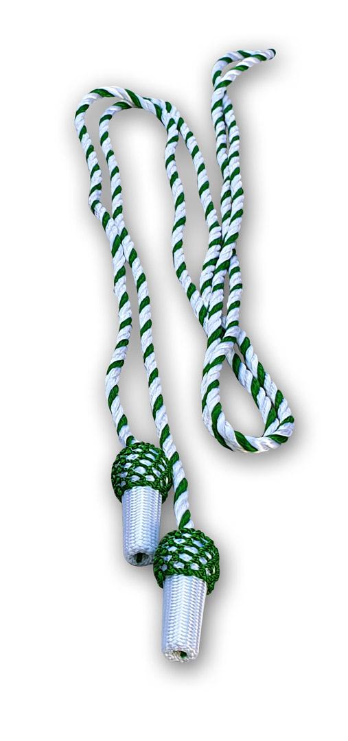 grün-weisse Hutschnur mit Eicheln
