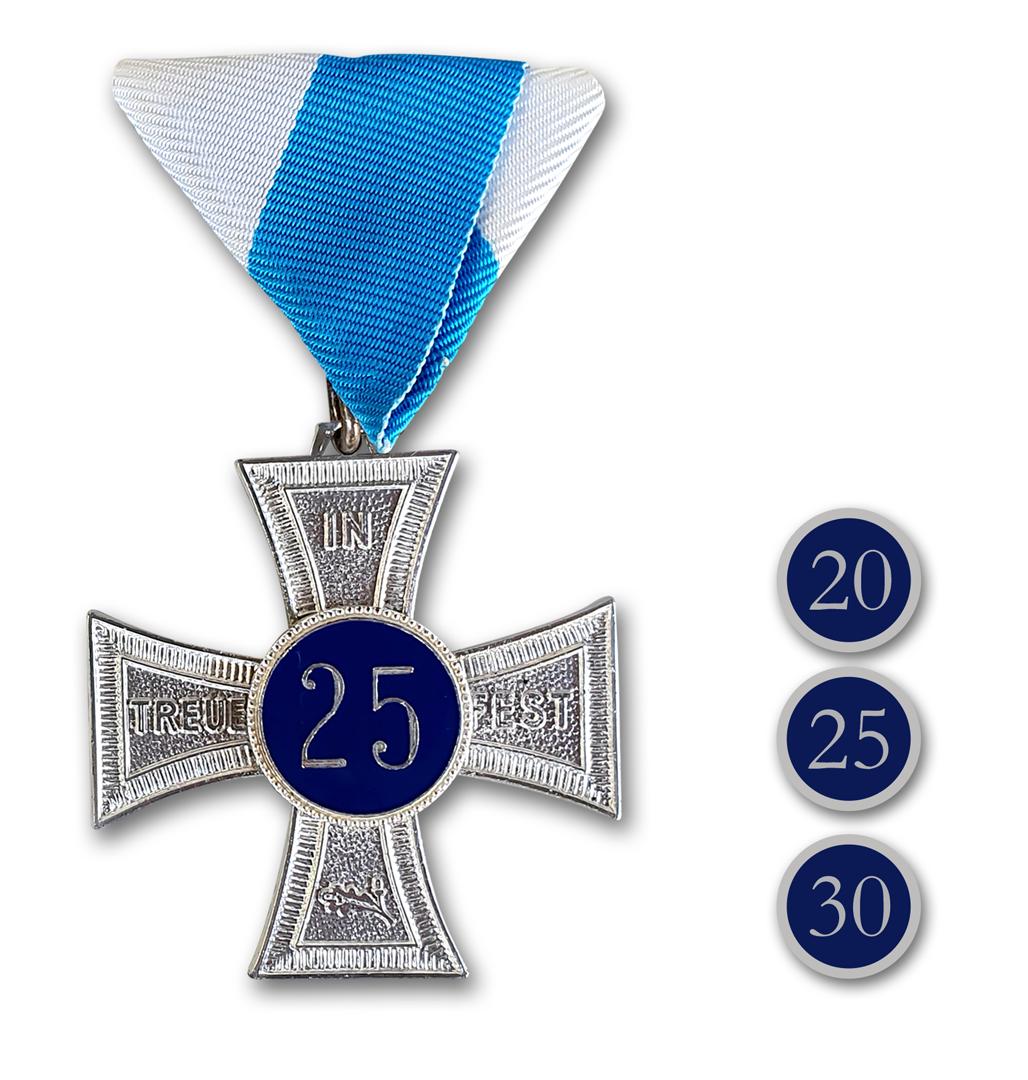 Ehrenkreuz In Treue fest in silber mit Zahlen und Bandschluppe in weiss-blau