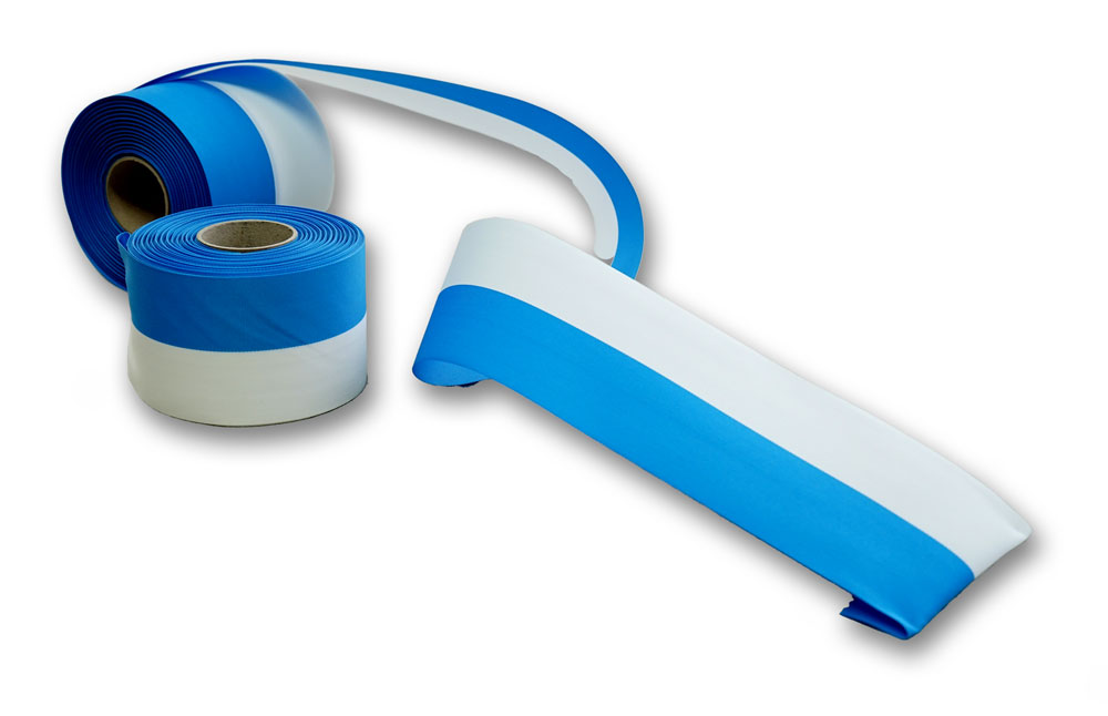 weiss-blaues Dekoband aus Ripsseide