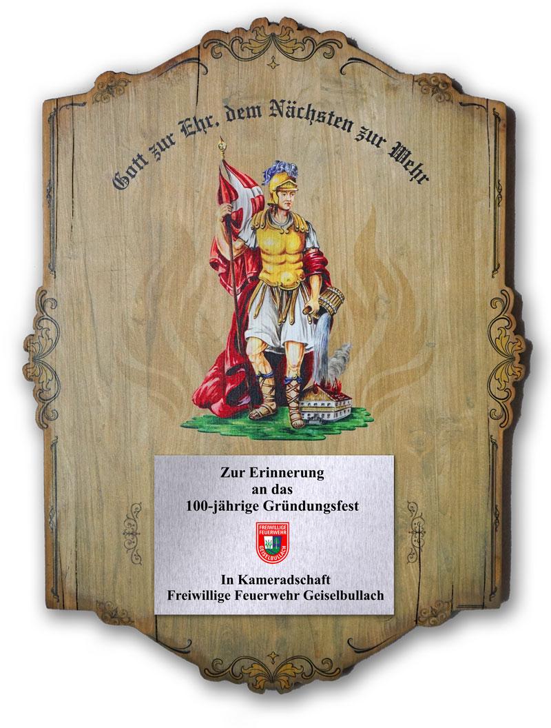 Ehrentafel auf Holz gedruckt Feuerwehr