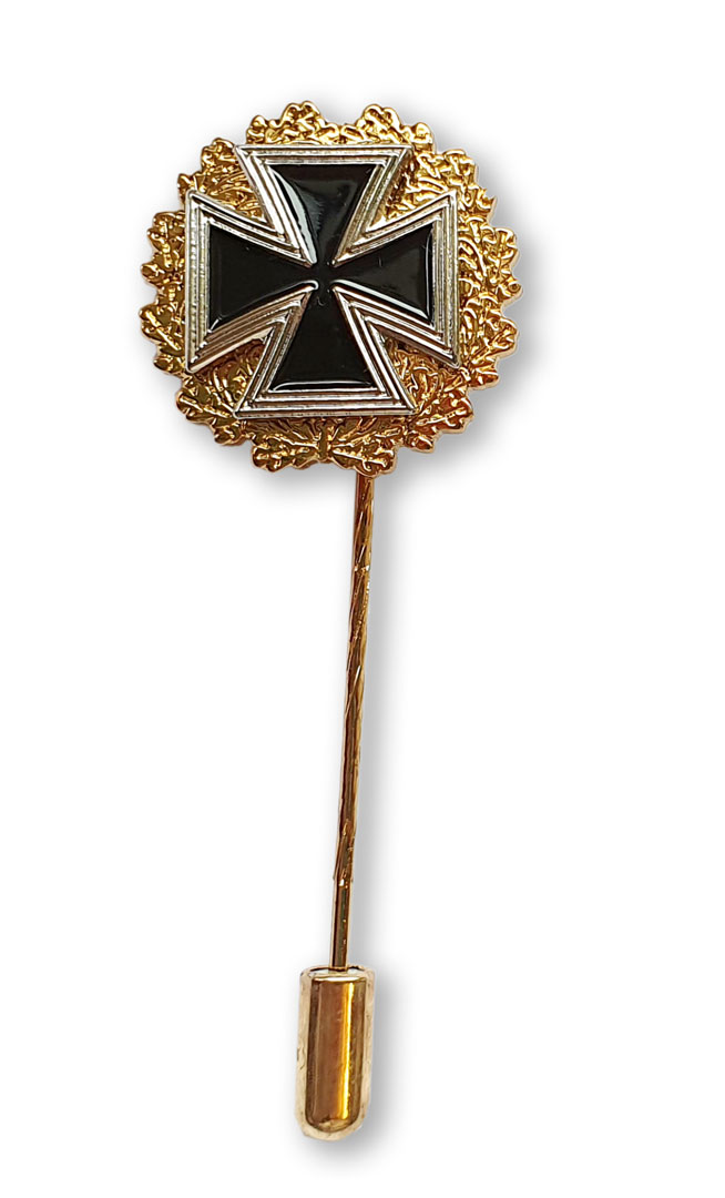Eisernes Kreuz mit Goldkranz, mit langer Nadel und Nadelsicherung