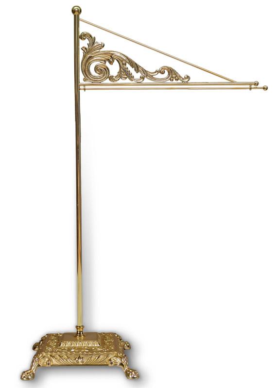Tischstandartenständer aus Messing, 48 cm / 25 cm Ausladung