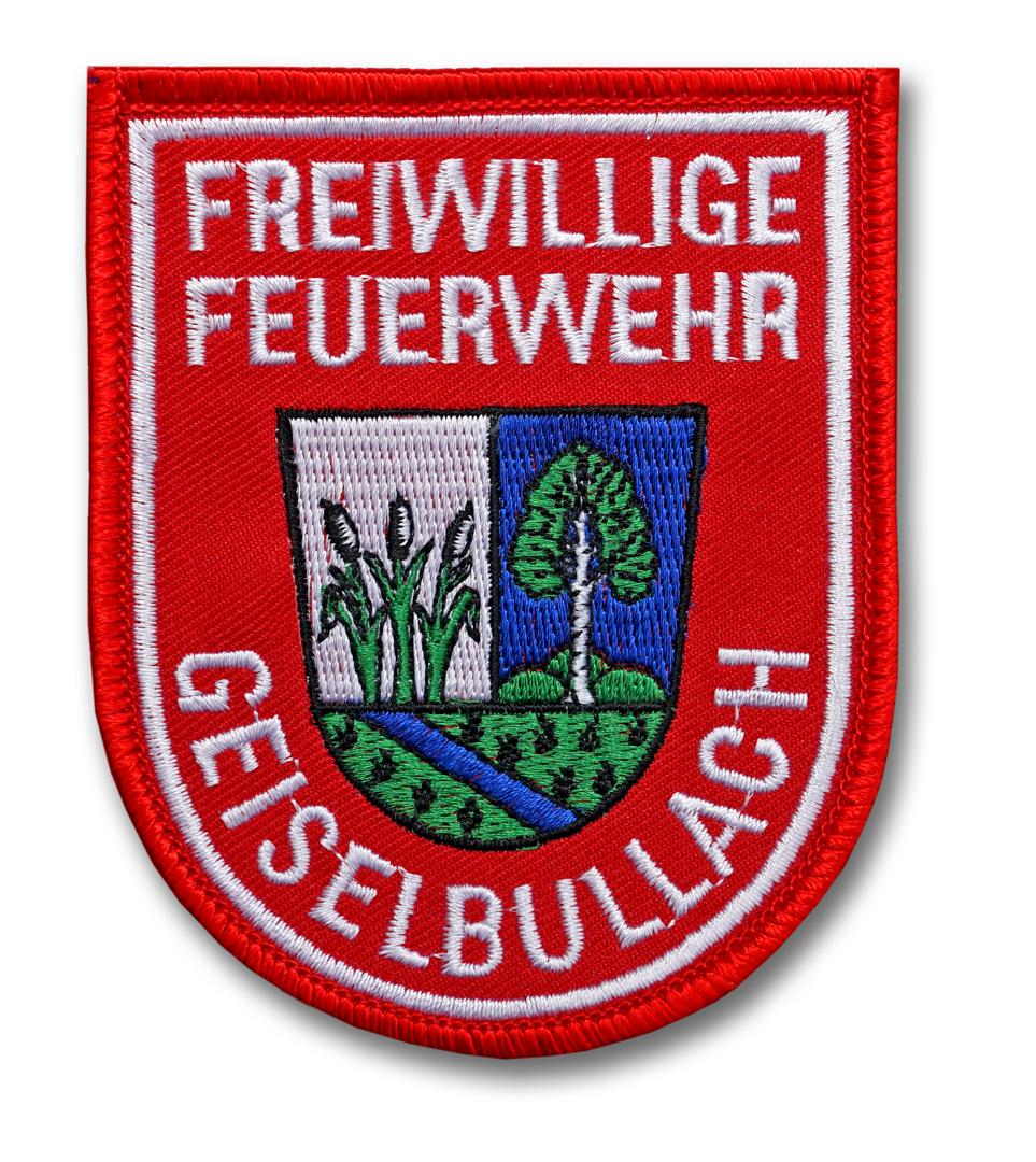 Ärmelabzeichen für linken Oberarm mit Gemeindewappen oder Landkreiswappen oder Raute auf rotem Köperstoff
