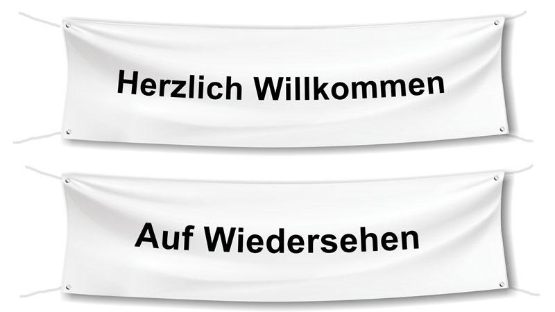 """Spannbänder """"Herzlich Willkommen"""" und """"Auf Wiedersehen"""""""