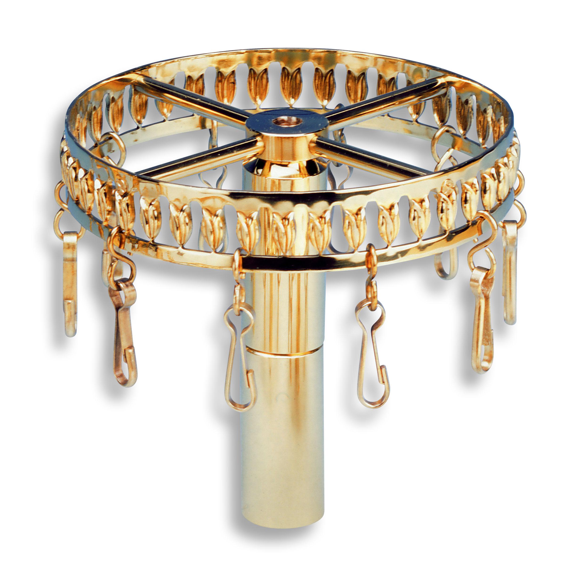 Großer Bänderring mit durchbrochener Verzierung und 12 Karabinerhaken zum Einhängen der Fahnenbänder