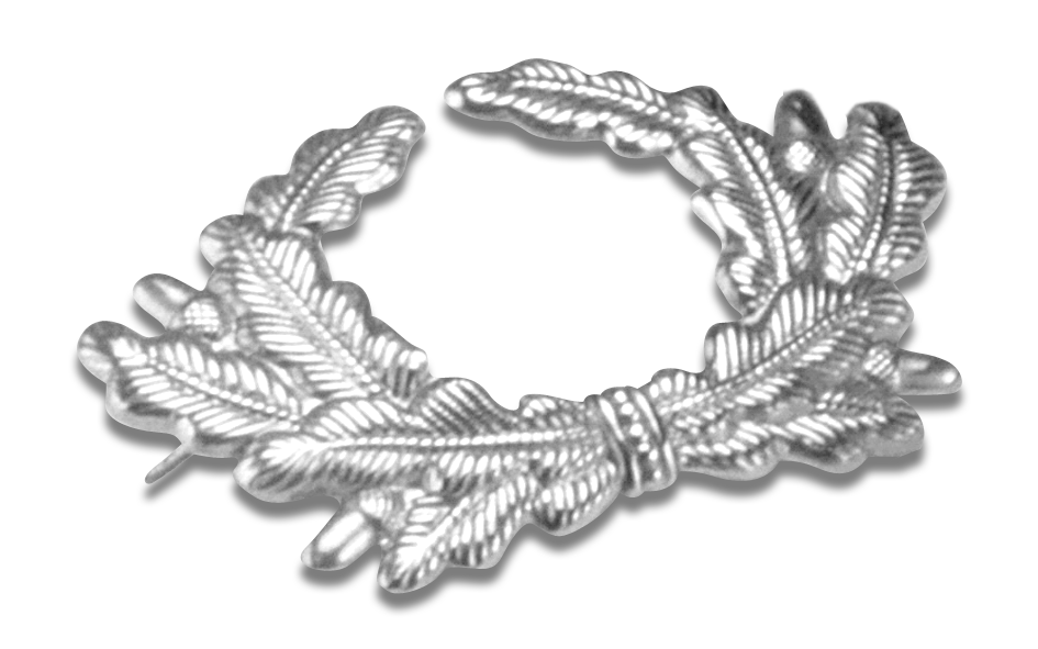 Eichenlaubkranz in silber für Veteranenmützen