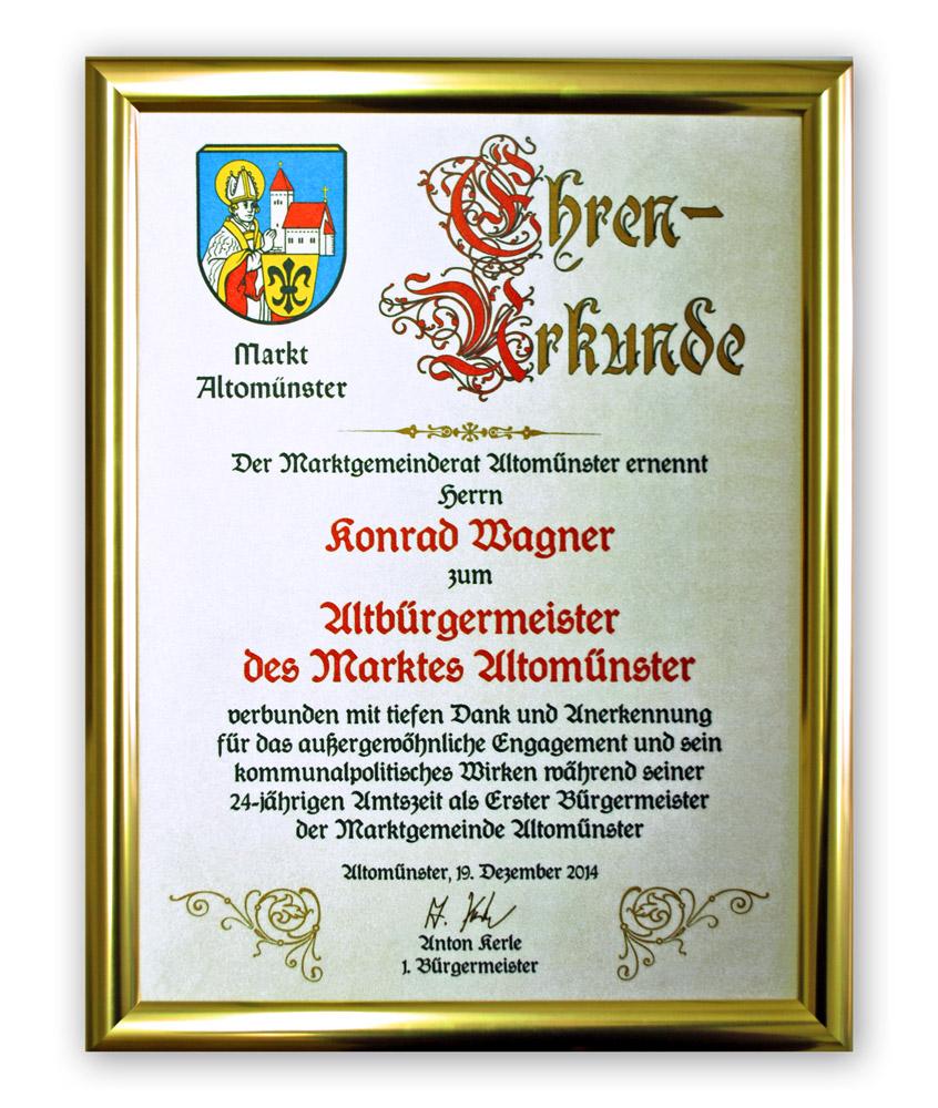Ehrentafel auf Seide gedruckt - Ehrungsurkunde