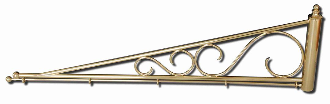 Dreiecksförmiger Ausleger oder Haltearm für Standarten. Mit zwei Schörkeln verziert
