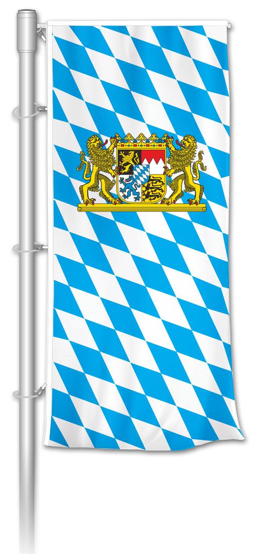 Auslegerfahne bayerische Raute mit Staatswappen