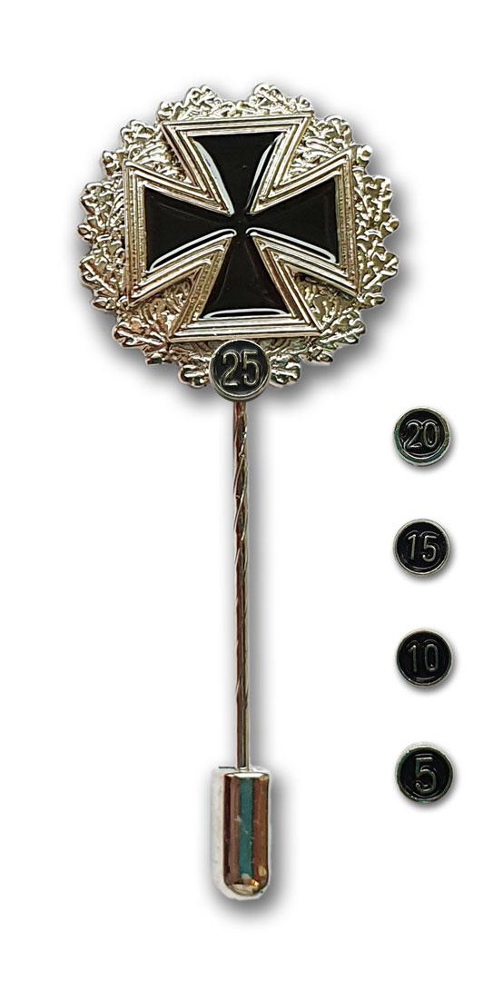Metallabzeichen Eisernes Kreuz mit Silberkranz und Zahlen