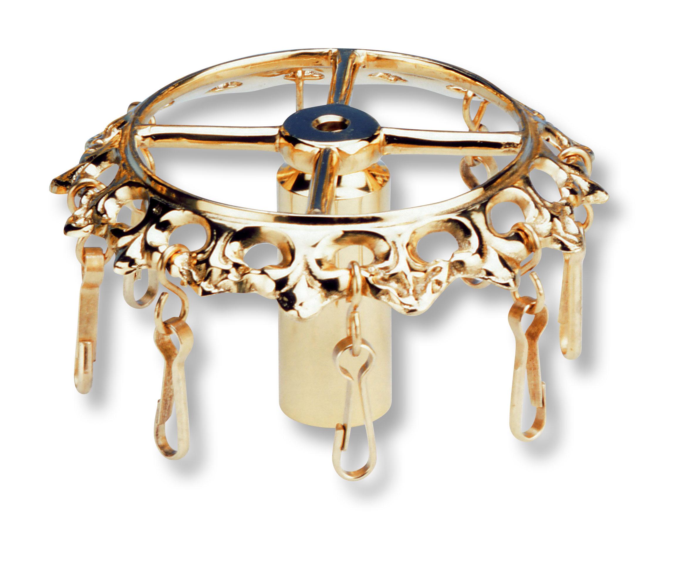 Bänderring rund in barock verzierter Form mit 8 Karabinerhaken zum Einhängen der Fahnenbänder.