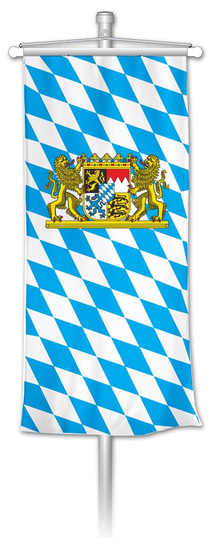 Bannerfahne bayerische Raute mit Staatswappen